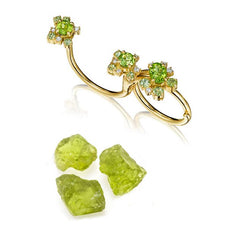 Peridot Melting Ice Convertible Single/Double Ring
