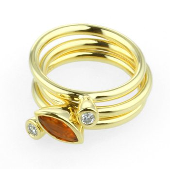 18kt Gold Set Of Three Diamond & Sapphire Stacking Rings
