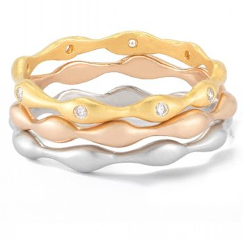 Raindrop Stackable Recycled Gold Ring Set