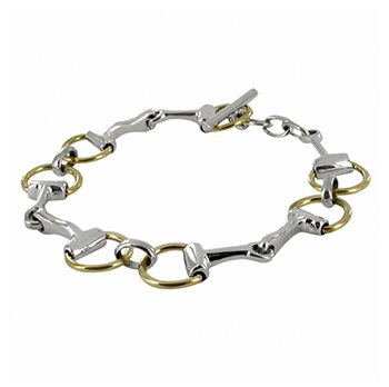Classic Sterling Silver And Two Tone Snaffle Bracelet