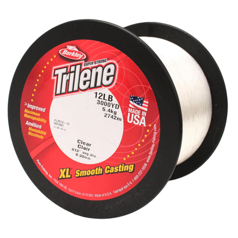 "Trilene XL Monofilament Service Spool - 3000 Yards, 0.013"" Diameter, 12 lb Breaking Strength, Clear"