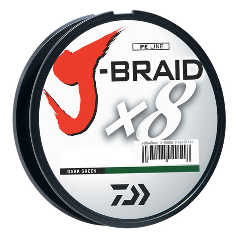 J-Braid Braided Line, 10 lbs Tested - 330 Yards-300m Filler Spool, Dark Green