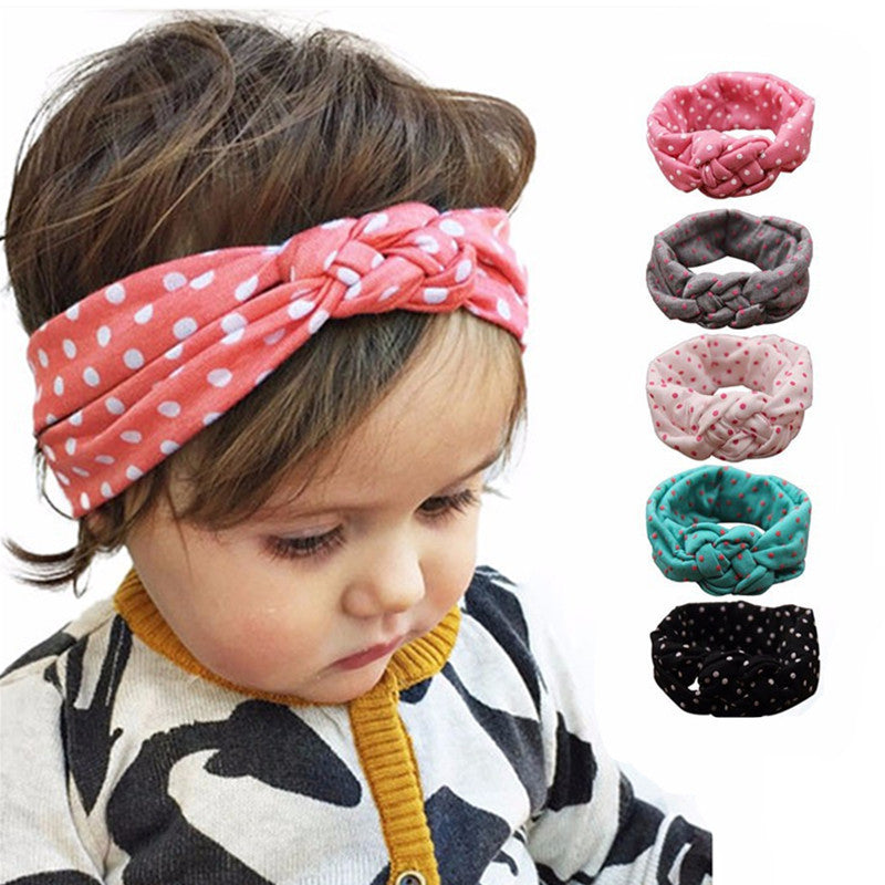 ... Little Girls Knot Headband Kids Polka Dots Elastic Headwrap Child Cross  Turban Wide Twisted Hair Accessories ... 4935dea8155