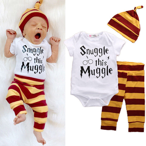 53da7b22365 Baby Clothing Set Newborn Baby Boys Girls Snuggle this Muggle  Bodysuit+Stripe Pants+Hat