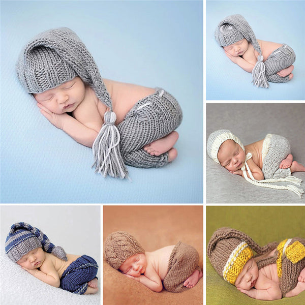 Handmade knitting soft hat pants set baby clothing accessories for 0 4 months newborn baby