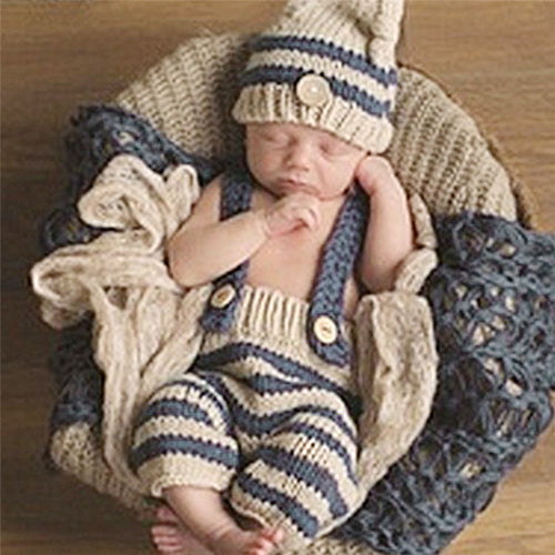 4fe39560f46ef 0-4M Newborn Baby Photography Props Infant Knit Crochet Costume Blue  Striped Soft Outfits Elf