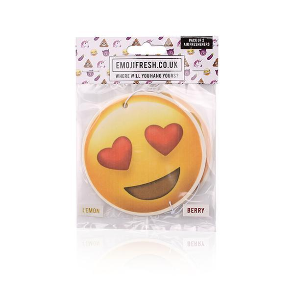 3 Packs (6 Fresheners) x Official Emoji Fresh Car Jar Hanging Car Air Fresheners – Love Heart, Laughter, Thinking Pack