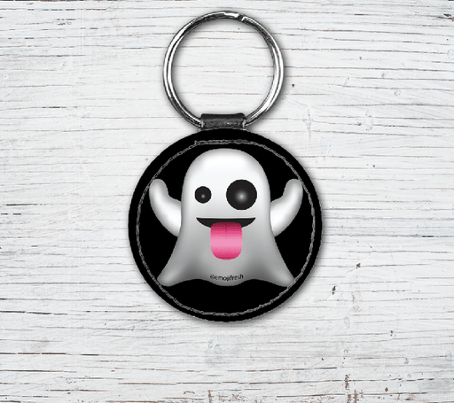 Ghost Emoji Faux Leather Keyring-EmojiFresh