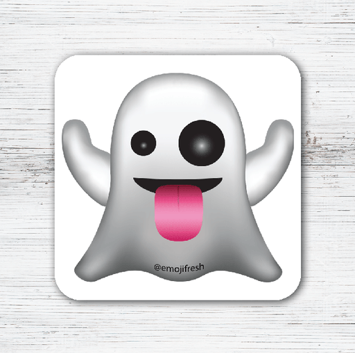 Ghost Emoji Tea Coffee Coaster-EmojiFresh