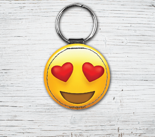 Hearts Emoji Faux Leather Keyring-EmojiFresh