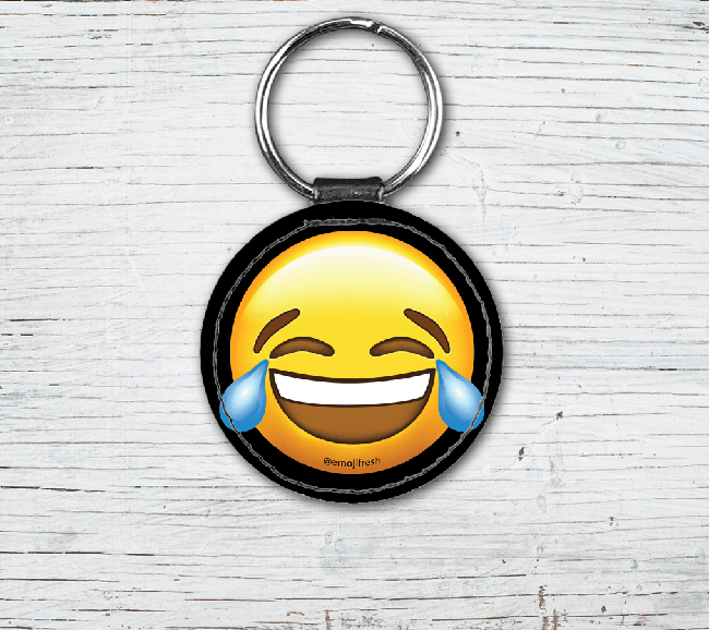 Joy Emoji Faux Leather Keyring-EmojiFresh