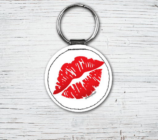 Kiss Emoji Faux Leather Keyring-EmojiFresh