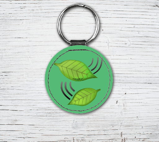 Leaves Emoji Faux Leather Keyring-EmojiFresh