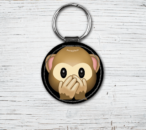 Monkey Emoji Faux Leather Keyring-EmojiFresh