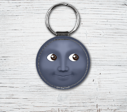 Moon Emoji Faux Leather Keyring-EmojiFresh