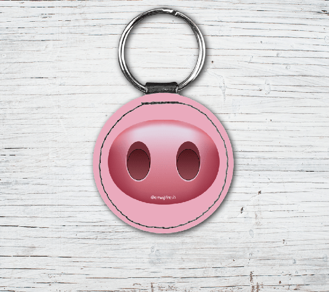 Pig Emoji Faux Leather Keyring-EmojiFresh