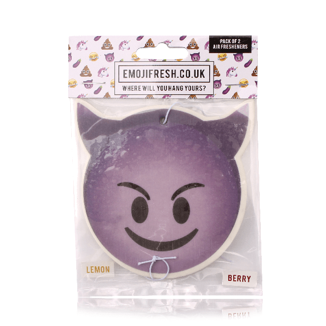 Smiling Devil Emoji Car Air Freshener x2 With Retail Packaging-EmojiFresh
