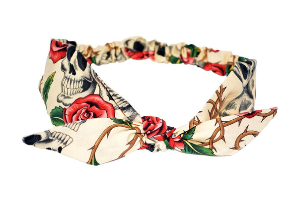 4 in 1 Headband - Beige Skull Roses