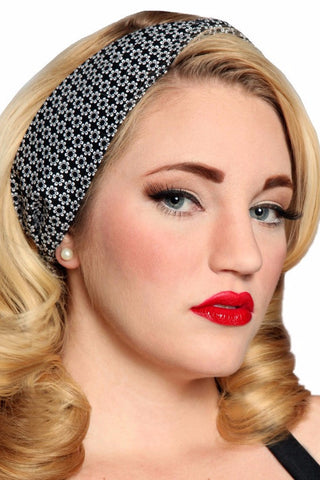 Bombshell Hair Wrap - Black & White Daisy