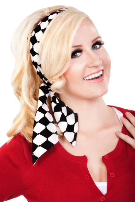 Bombshell Hair Wrap - Black & White Harlequin