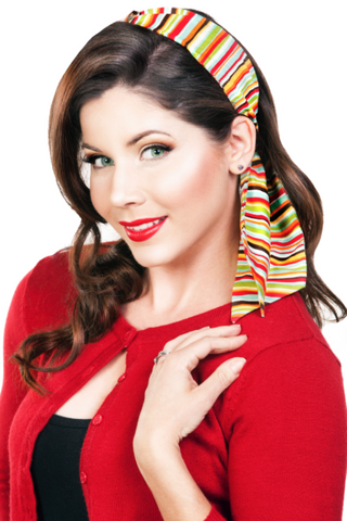 Bombshell Hair Wrap - Colorful Stripes