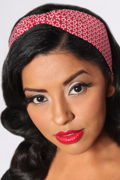 Bombshell Hair Wrap - Red & White Daisy