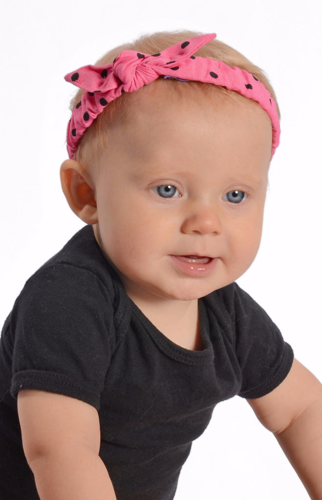 Mommy and Me Headband - Pink & Black Dot