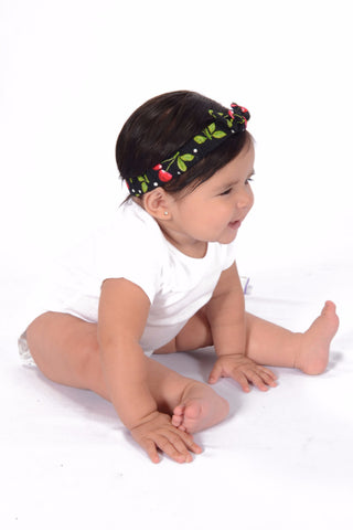 Mommy and Me Headband - Black Cherry Dots