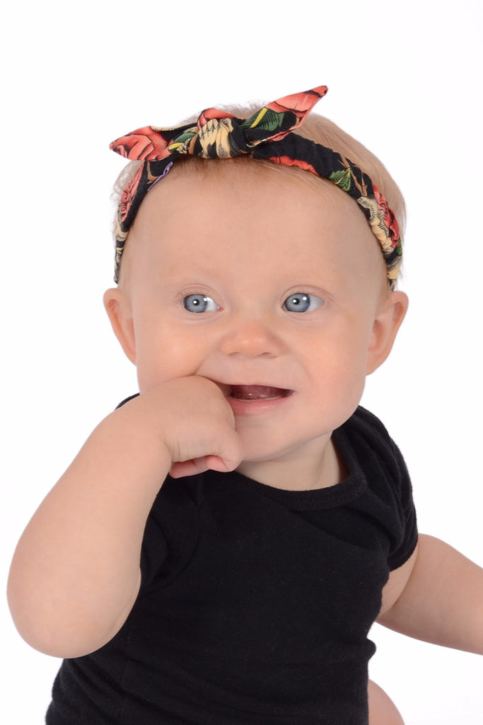 Mommy and Me Headband - Peach Skull Roses