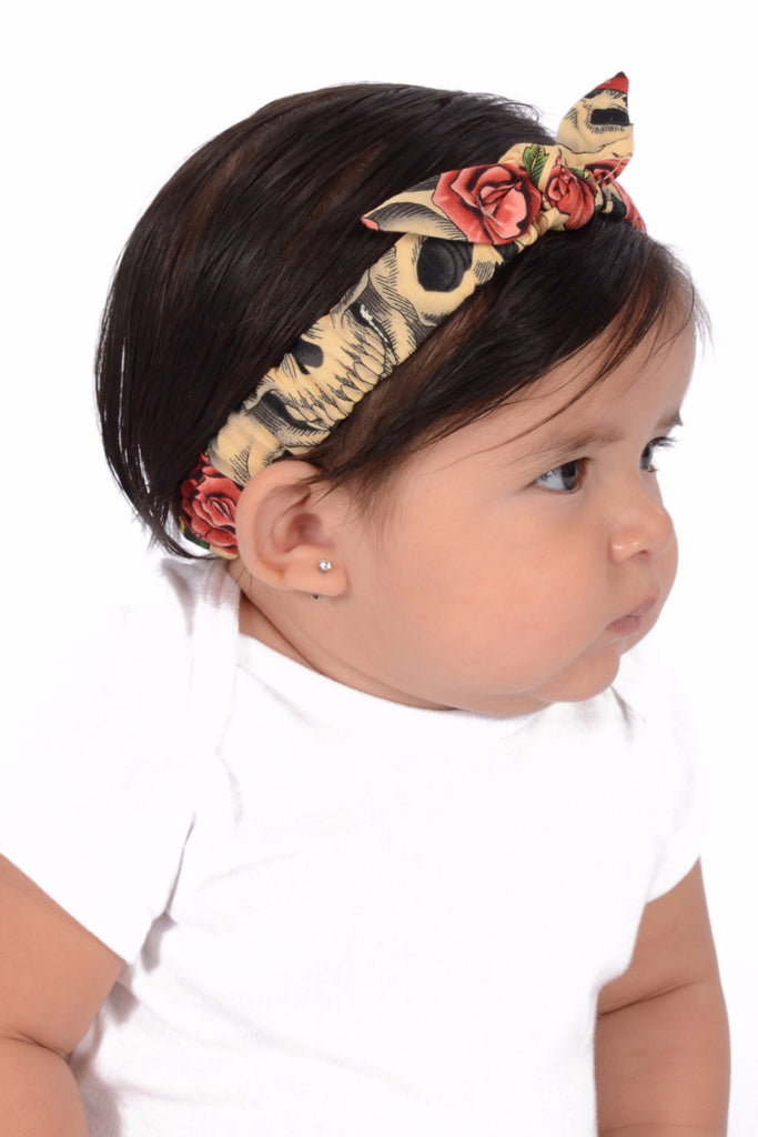 Mommy and Me Headband - Beige Skull Roses