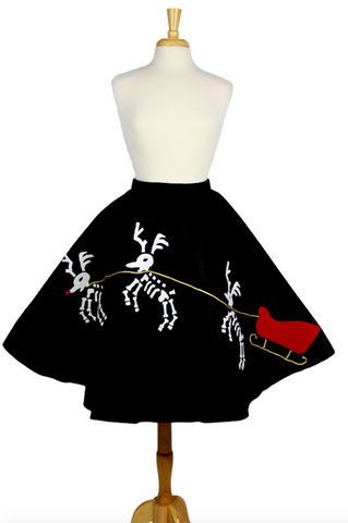 Felt Circle Skirt - Skeleton Reindeer