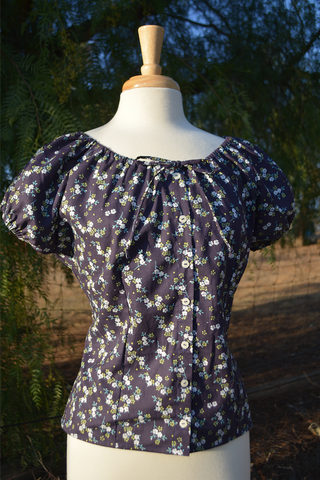 Mary Blouse - Wildflower Navy