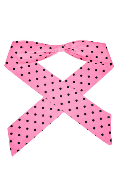 Bombshell Hair Wrap - Pink & Black Dots