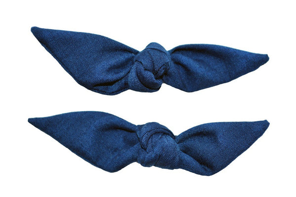 Cute Knotted Bows - Navy