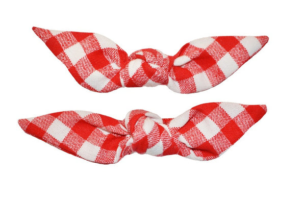Cute Knotted Bows - Red Picnic
