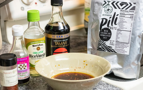 asian pili nuts sauce with ingredients