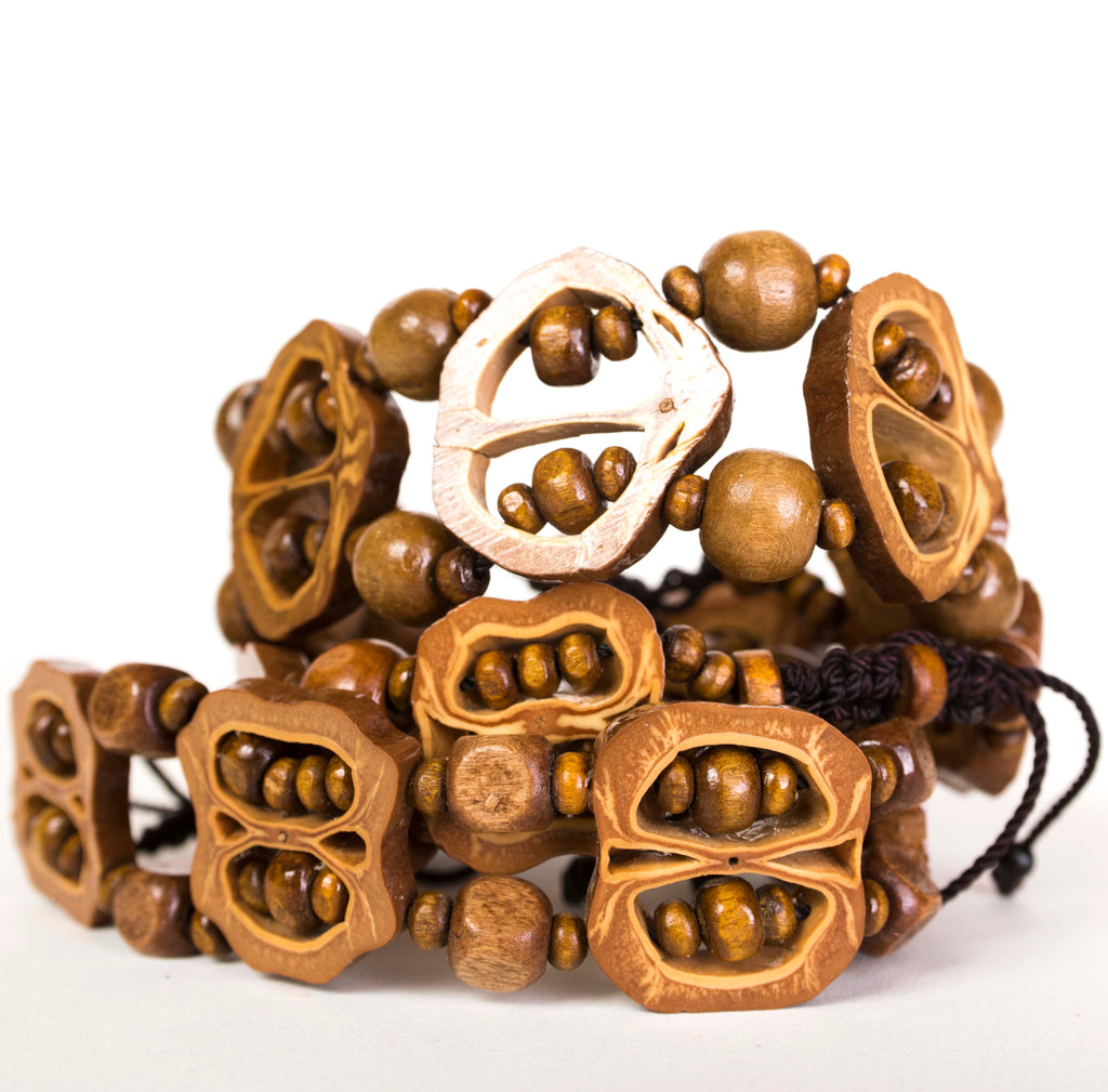 two Filipino pili nut bracelets