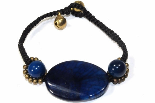 Blue Agate Slice & Rounds Bracelet