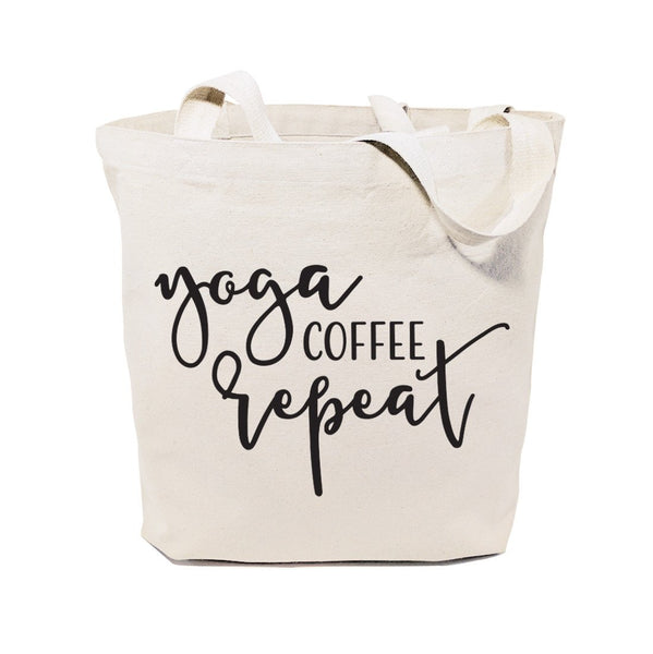 Yoga, Coffee and Repeat Gym Cotton Canvas Tote Bag
