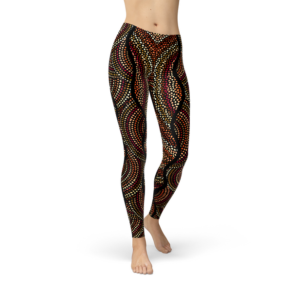 Womens Polka Dots Aboriginal Artwork Leggings (V2)