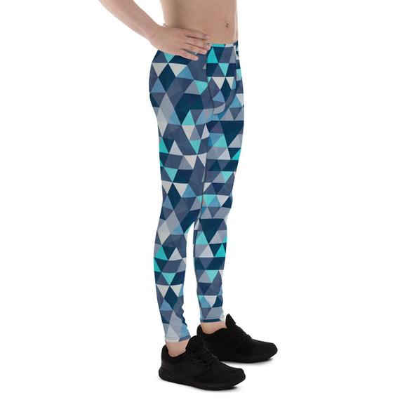 Mens Leggings - Blue Geometric Triangles Leggings