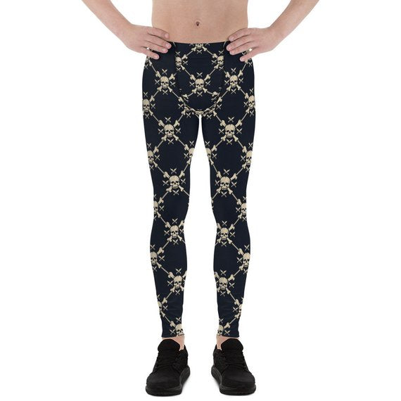 Mens Leggings - Chain Link Skulls Leggings