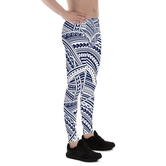 Mens Leggings - Maori Polynesian Tattoo Leggings