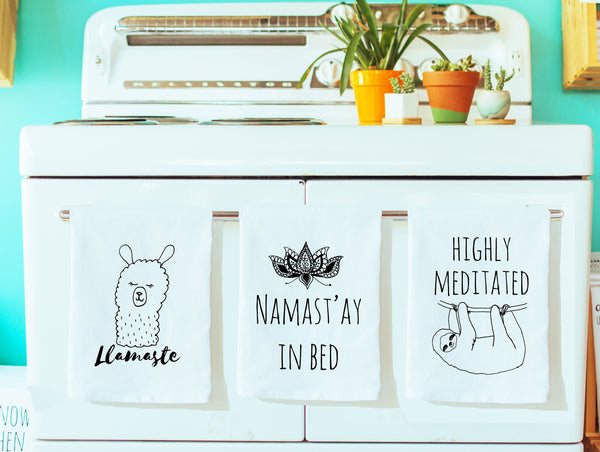 Dish Towel Gift Set of 3 ~ Mix and Match ~ Llamaste, Namastay in Bed,