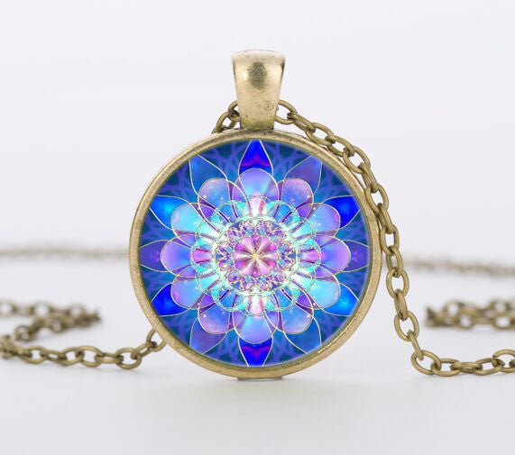 Handmade Vintage Blue Mandala Lotus Necklaces - Yogini Yoga Wear