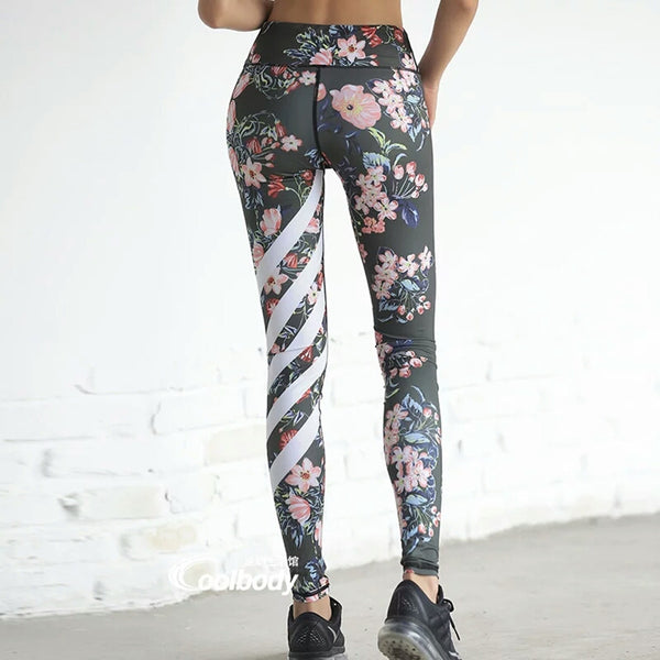 Floral Printed & Striped - High and Wide Waisted, Quick Dry, Compression Yoga Leggings