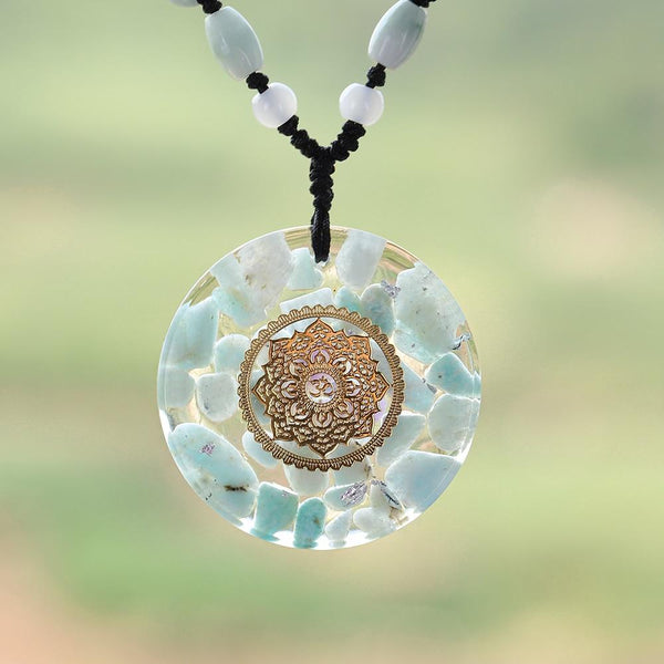 Pendant Energy Amazonite Reiki Necklace Yoga Healing  Jewelry For