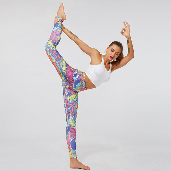 Autumn Print Gym Yoga Leggings Fitness Sports Breathable Yoga Pants