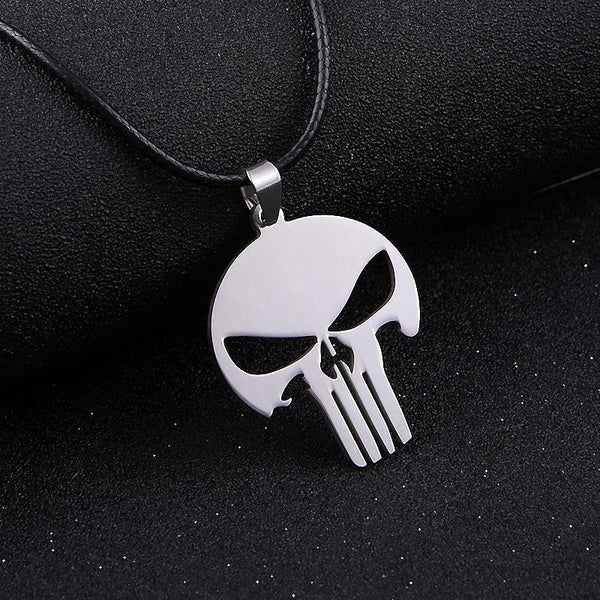 Stainless Steel SKULL Silver Leather Pendant Necklace - Yogini Yoga Wear