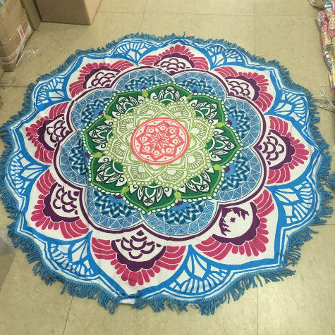 Mandalas Tapestry Lotus Wall Hanging / Beach Towel / Yoga Mat - Yogini Yoga Wear